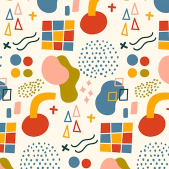 손으로 그린된 평면 추상 모양 패턴 디자인