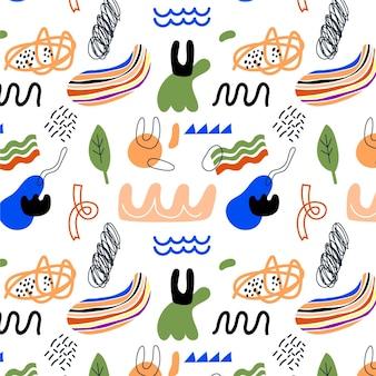 Ручной обращается плоские абстрактные формы шаблон дизайна