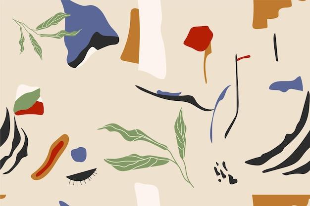 Ручной обращается шаблон плоских абстрактных форм