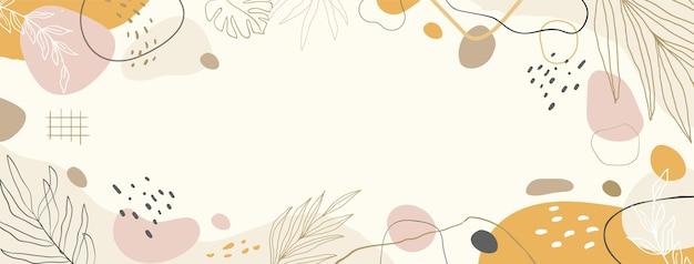 손으로 그린된 평면 추상 모양 소셜 미디어 표지 템플릿