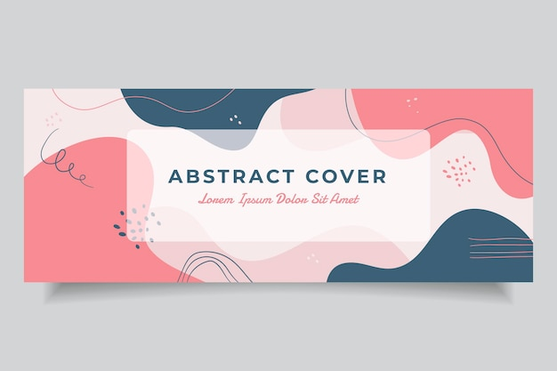 Hand drawn flat abstract shapes social media cover template