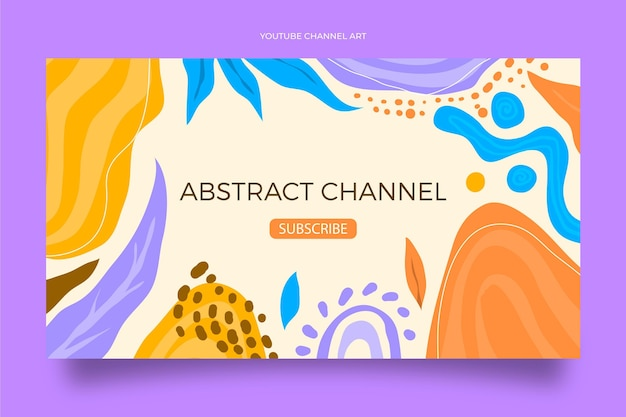 Hand drawn flat abstract shapes youtube channel art