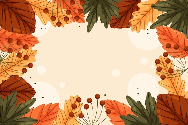 Hand drawn flat autumn background with leaves