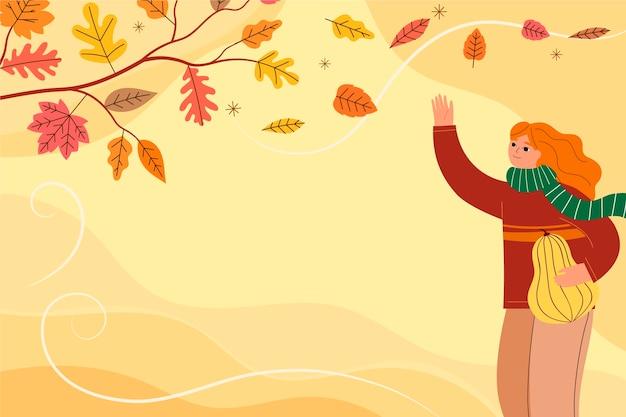 손으로 그린 평평한 가을 배경