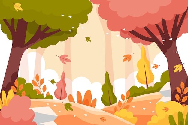 Hand drawn flat autumn background