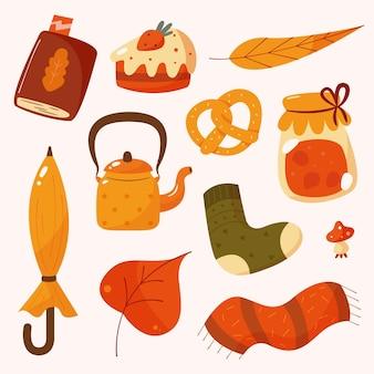 Collezione di elementi autunnali piatti disegnati a mano