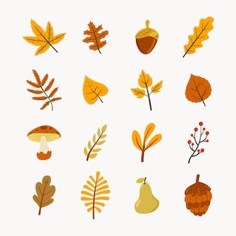 手描きフラット秋の要素コレクション