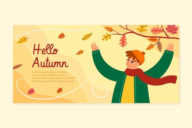 Hand drawn flat autumn horizontal banner template