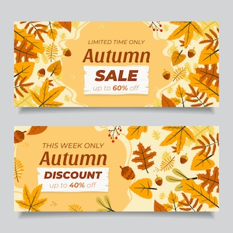Hand drawn flat autumn horizontal sale banners set