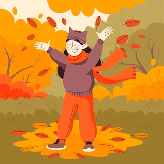 Hand drawn flat autumn illustration with happy woman outdoors