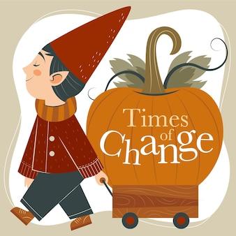 巨大なカボチャを運ぶ人と手描きの平らな秋のイラスト