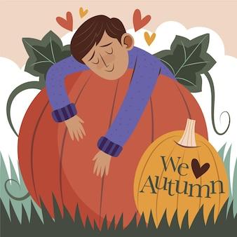 手描きの平らな秋のイラスト