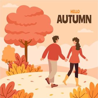 Hand drawn flat autumn illustration