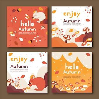Hand drawn flat autumn instagram posts collection