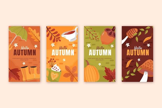 Hand drawn flat autumn instagram stories collection