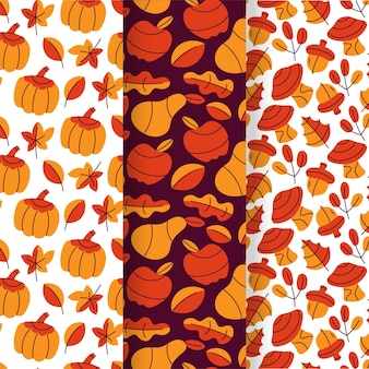 手描きフラット秋のパターンコレクション