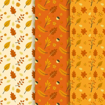 Hand drawn flat autumn patterns collection