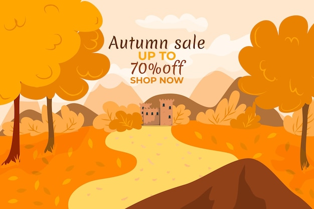 Hand drawn flat autumn sale background