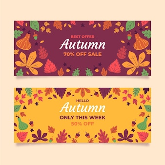 Hand drawn flat autumn sale banners set