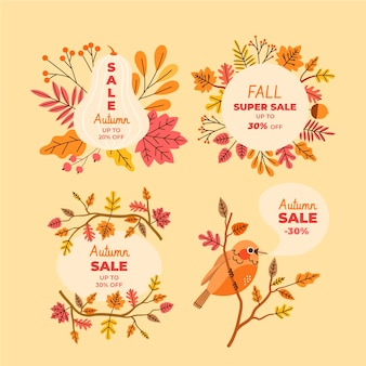 Hand drawn flat autumn sale labels collection