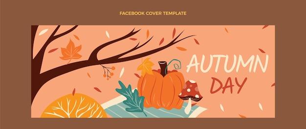 Hand drawn flat autumn social media cover template
