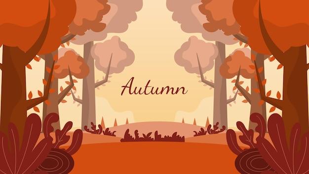 Hand drawn flat autumn woodland background