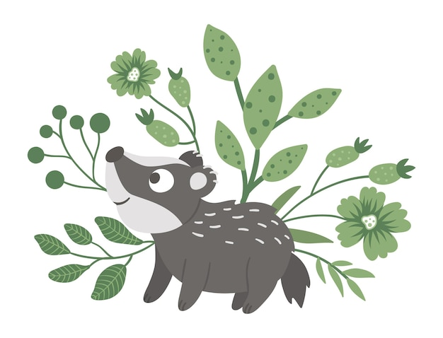 Hand drawn flat baby badger with leaves, twigs and flowers.