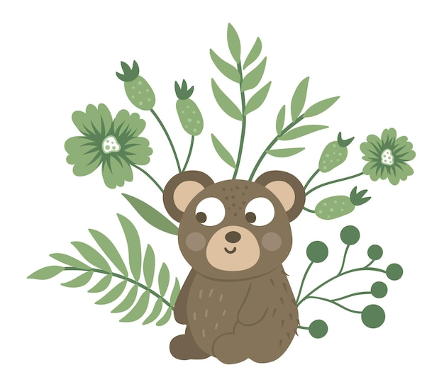 Hand drawn flat baby bear with leaves, twigs and flowers.