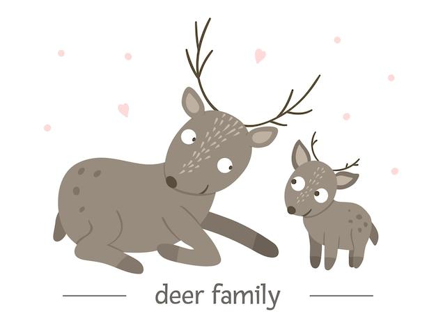 손으로 그린 부모와 함께 평면 아기 사슴.