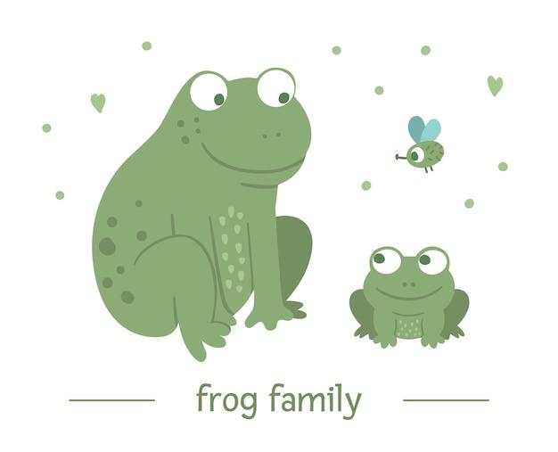 手描きの親とフラット赤ちゃんカエル。