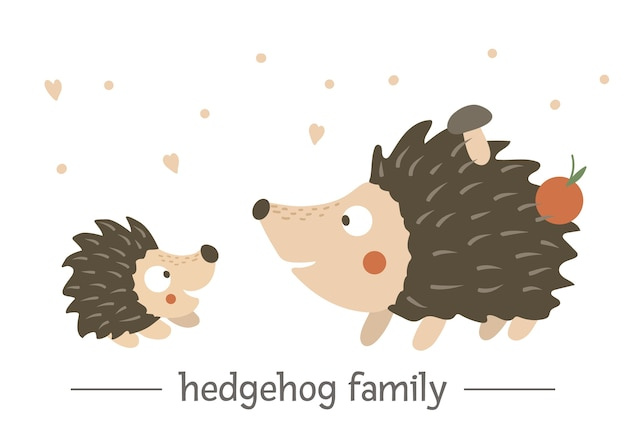 Hand drawn flat baby hedgehog with parent.