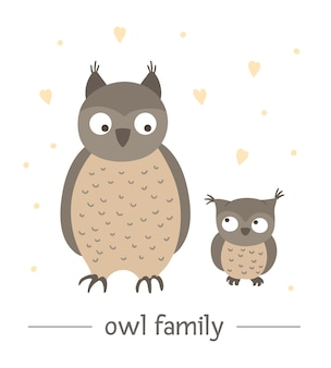 Hand drawn flat baby owl with parent.