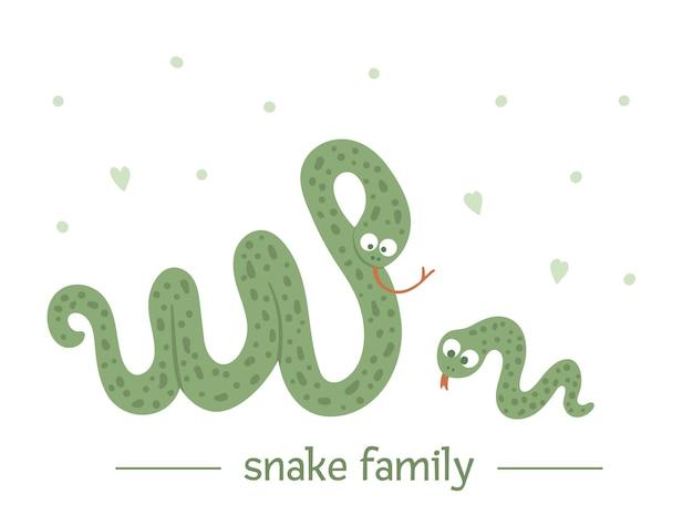 손으로 그린 부모와 함께 평면 아기 뱀.