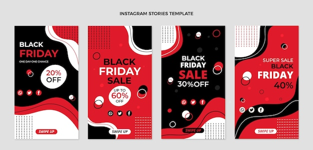 Hand drawn flat black friday instagram stories collection