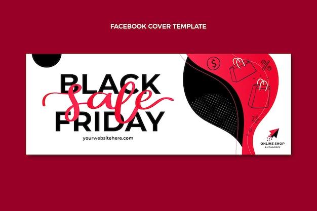 Нарисованный рукой плоский шаблон обложки в социальных сетях черной пятницы