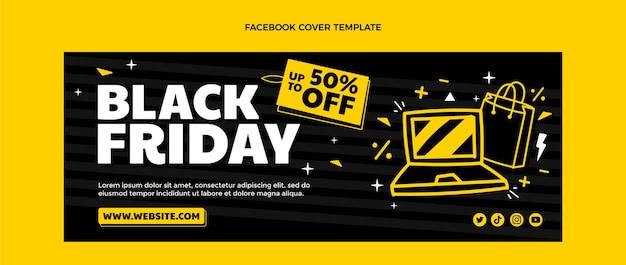 Hand drawn flat black friday social media cover template