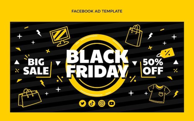 Modello promozionale di social media venerdì nero piatto disegnato a mano