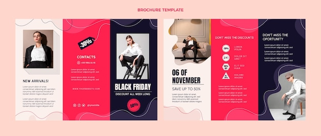 Hand drawn flat black friday trifold business brochure template