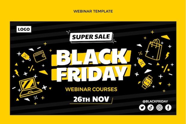 Hand drawn flat black friday webinar template