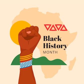 Illustrazione del mese di storia nera piatta disegnata a mano