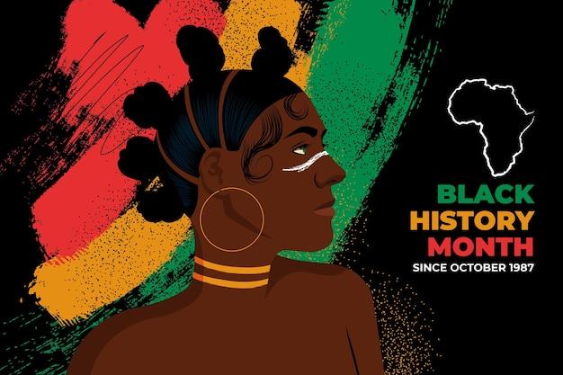 Hand drawn flat black history month illustration