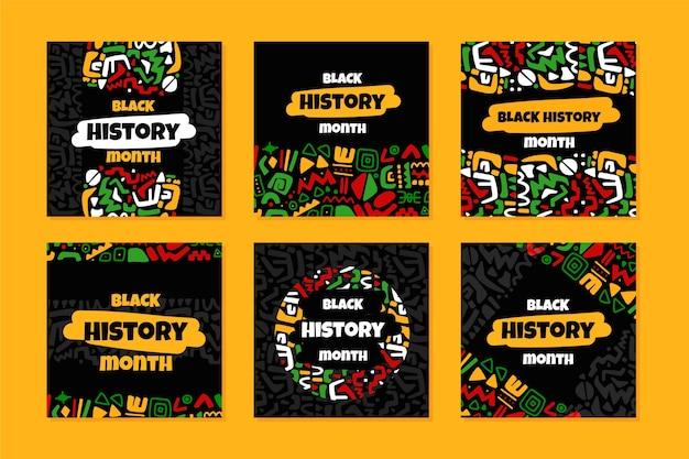 手描きのフラット黒人歴史月間インスタグラム投稿コレクション