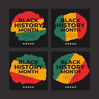 Hand drawn flat black history month instagram posts collection