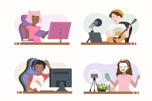 Коллекция рисованной плоских блоггеров