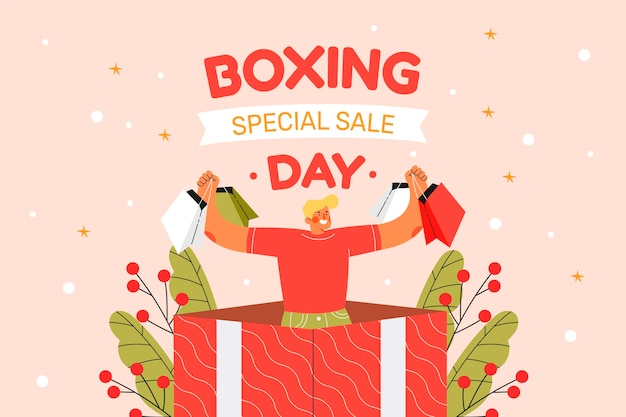 Hand drawn flat boxing day sale background