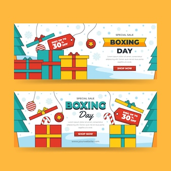 Hand drawn flat boxing day sale horizontal banners set