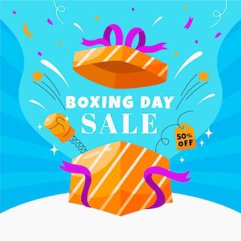 Hand drawn flat boxing day sale illustration