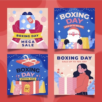 Hand drawn flat boxing day sale instagram posts collection