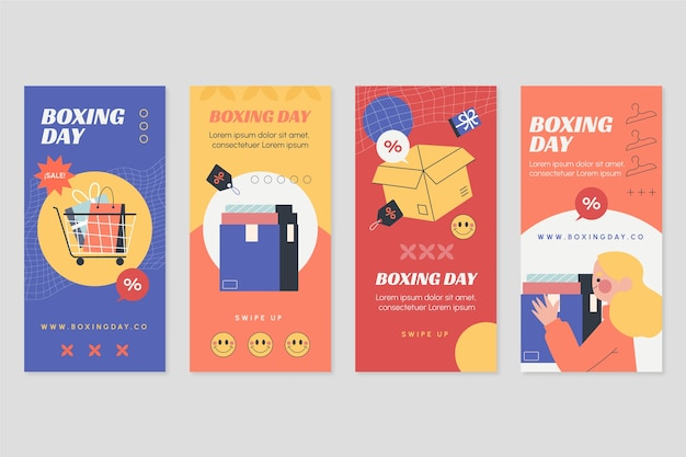 Hand drawn flat boxing day sale instagram stories collection