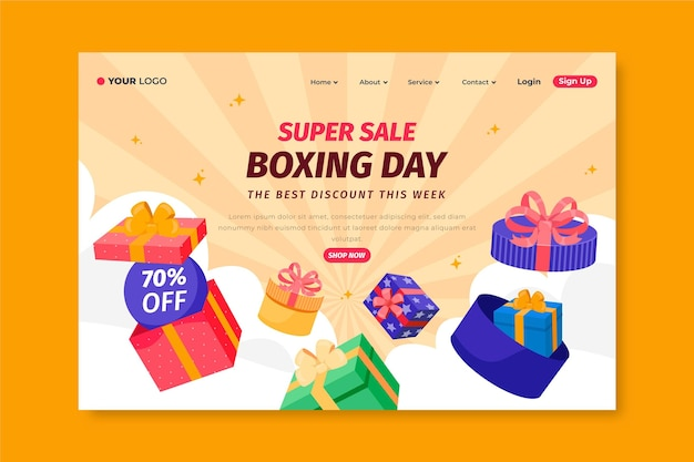 Hand drawn flat boxing day sale landing page template